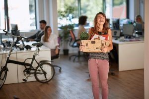Woman decluttering in the office